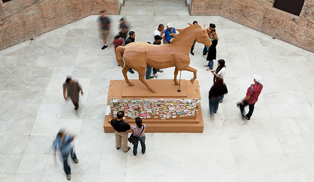 Picture of The Commons, a statue of a horse whose base has notes contributed by the public, work made by Nasher Prize Nominee Paul Ramirez Jonas