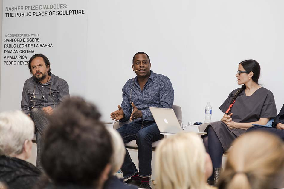 Panelists Damian Ortega, Sanford Biggers, and Amalia Pica discussing The Public Place of Sculpture  in Mexico City