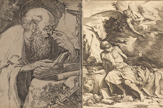 Left: a stout man with bald head leans over a surface as if reading something, Right: a muscular bald man looks up in awe of an angel blowing a trumpet