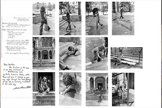Various black and white pictures of Mierle Laderman Ukeles cleaning public scenes like staircases