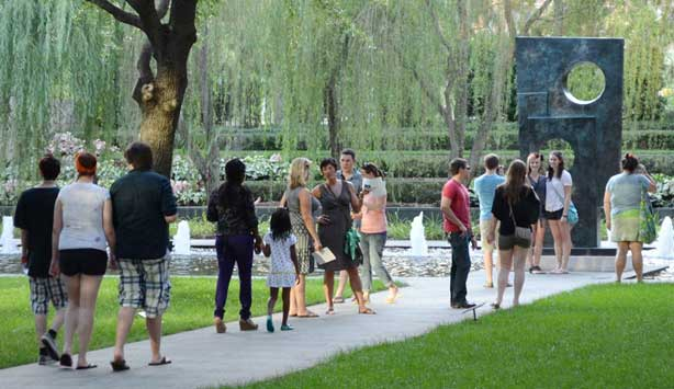 Group touring the Nasher Sculpture Center