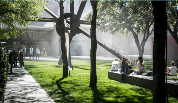 Visitors enjoy the garden during Nasher Prize month.