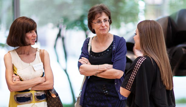 Group of women talking at the Nasher Sculpture Center