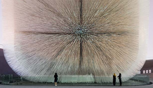 Acrylic rods sprawl outward from a Seed Cathedral built for the Shanghai Expo| UK Pavillion | Heatherwick Studios - Iwan Baan