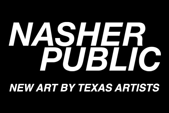 White text on a black background. The logo image for Nasher Public.