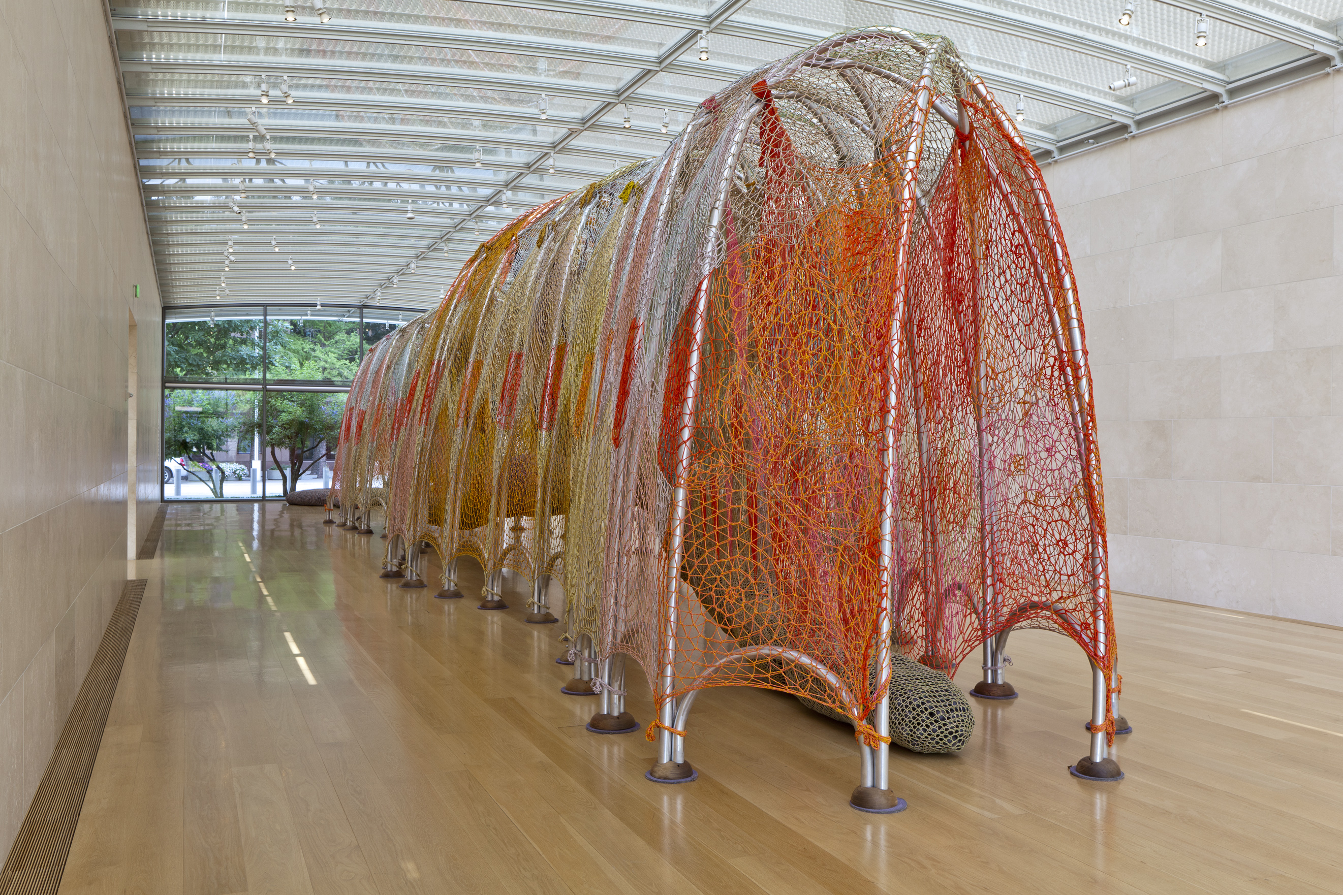 Immerse yourself in Ernesto Neto's Cuddle on the Tightrope (Kink)
