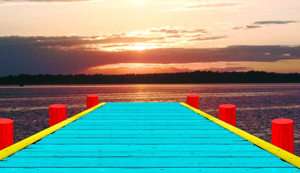 Rendering of dear sunset by Ugo Rondinone illustrating a brightly painted pier overlooking Fish Trap Lake, Dallas at sunset
