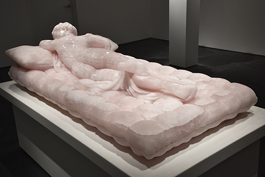 Pink Greek Thassos Marble Sculpture by Barry X Ball, 'Sleeping Hermaphrodite'
