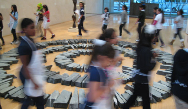 Students from Girls Inc. experience Richard Long's Midsummer Circles as part of Nasher 3:01 Club in 2013