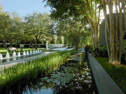 View of the Nasher Sculpture Center garden pond with fountains