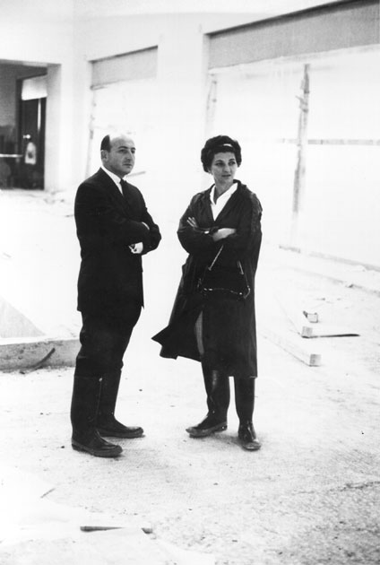 Vintage image of Raymond and Patsy Nasher during building of Northpark.